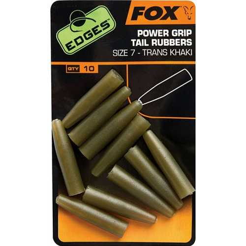 FOX Edges - Power Grip Tail Rubbers Trans Khaki Size 7